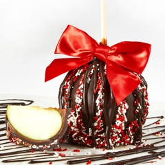 Dark Chocolate Caramel Apple with Sprinkles