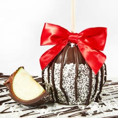 Dark Chocolate Caramel Dipped Apple with Coconut