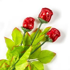 Milk Chocolate Foiled Red Long Stem Roses - 3 Pack