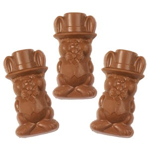 Milk Chocolate Peanut Butter filled Top Hat Bunny (3 Pack)